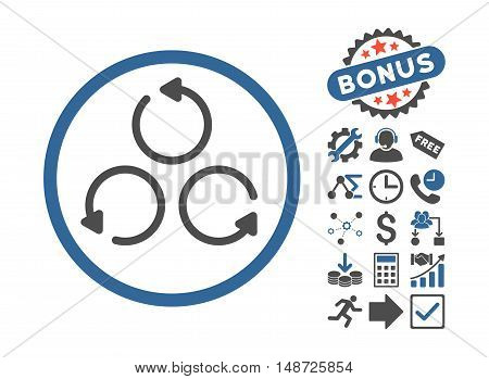 Rotation icon with bonus pictogram. Vector illustration style is flat iconic bicolor symbols, cobalt and gray colors, white background.