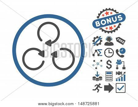 Rotation pictograph with bonus pictograph collection. Vector illustration style is flat iconic bicolor symbols, cobalt and gray colors, white background.