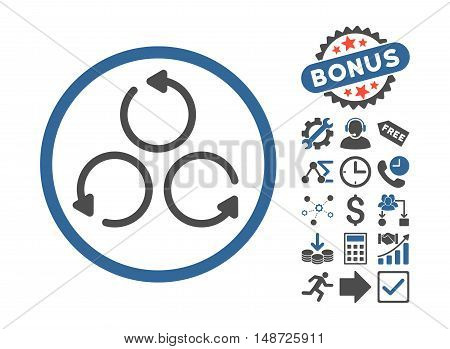 Rotation icon with bonus symbols. Vector illustration style is flat iconic bicolor symbols, cobalt and gray colors, white background.