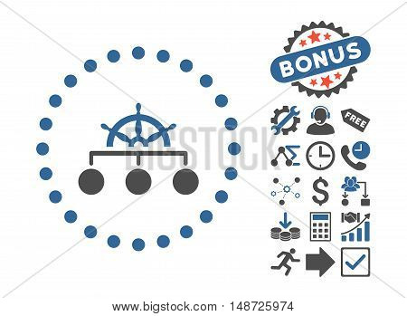 Rule pictograph with bonus icon set. Vector illustration style is flat iconic bicolor symbols, cobalt and gray colors, white background.