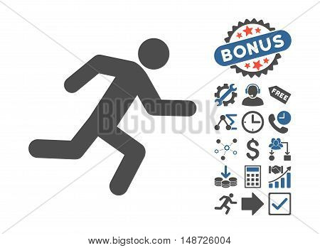 Running Man pictograph with bonus icon set. Vector illustration style is flat iconic bicolor symbols, cobalt and gray colors, white background.