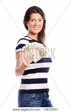 Woman With A Fan Of Money