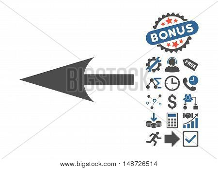 Sharp Left Arrow pictograph with bonus images. Vector illustration style is flat iconic bicolor symbols, cobalt and gray colors, white background.