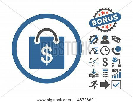 Shopping Bag icon with bonus pictures. Vector illustration style is flat iconic bicolor symbols, cobalt and gray colors, white background.