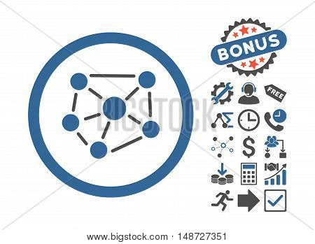 Social Graph icon with bonus clip art. Vector illustration style is flat iconic bicolor symbols, cobalt and gray colors, white background.