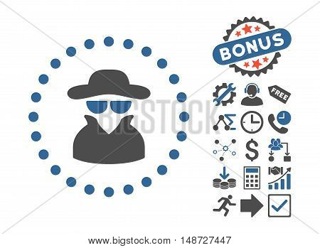 Spy icon with bonus design elements. Vector illustration style is flat iconic bicolor symbols, cobalt and gray colors, white background.