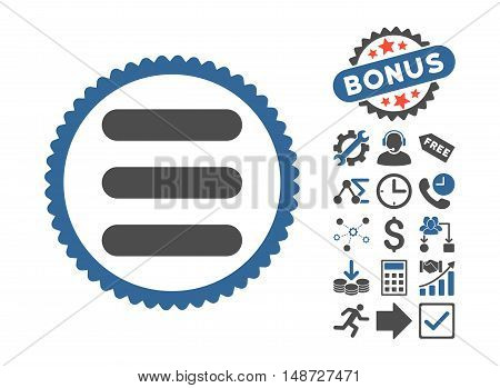 Stack pictograph with bonus icon set. Vector illustration style is flat iconic bicolor symbols, cobalt and gray colors, white background.