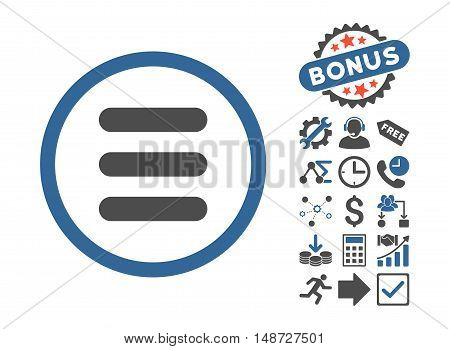 Stack pictograph with bonus design elements. Vector illustration style is flat iconic bicolor symbols, cobalt and gray colors, white background.