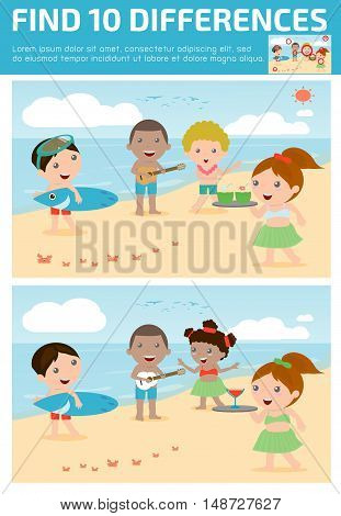 find differences,Game for kids ,find differences,Brain games, children game, Educational Game for Preschool Children, Vector Illustration, Hawaii Kids .