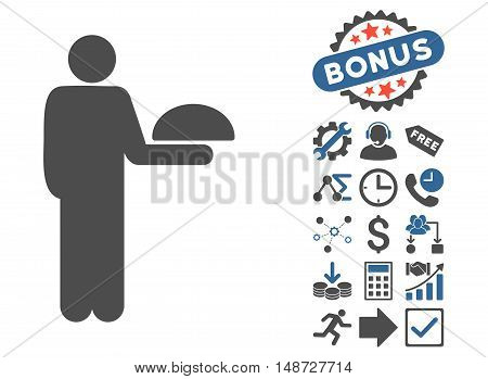 Standing Waiter icon with bonus icon set. Vector illustration style is flat iconic bicolor symbols, cobalt and gray colors, white background.