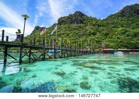 Semporna,Sabah-Sep 10,2016:View of Blue ocean,tropical island at Bohey Dulang tropical island,Semporna,Sabah.Bohey Dulang Island is one of the most popular islands in Tun Sakaran Marine Park.