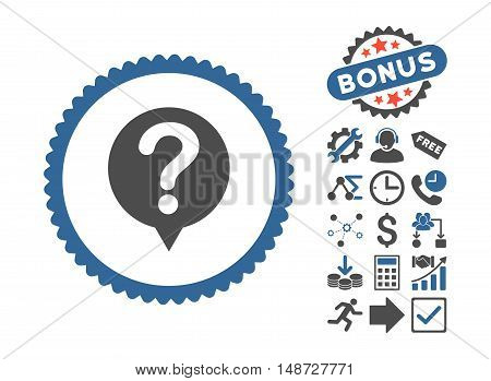 Status icon with bonus pictures. Vector illustration style is flat iconic bicolor symbols, cobalt and gray colors, white background.