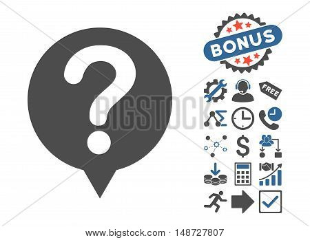Status pictograph with bonus pictograph collection. Vector illustration style is flat iconic bicolor symbols, cobalt and gray colors, white background.
