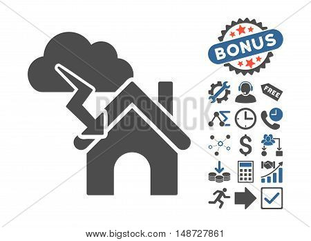 Storm Building icon with bonus design elements. Vector illustration style is flat iconic bicolor symbols, cobalt and gray colors, white background.