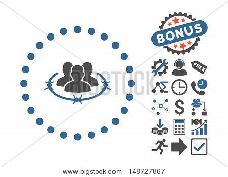 Strict Management pictograph with bonus images. Vector illustration style is flat iconic bicolor symbols, cobalt and gray colors, white background.