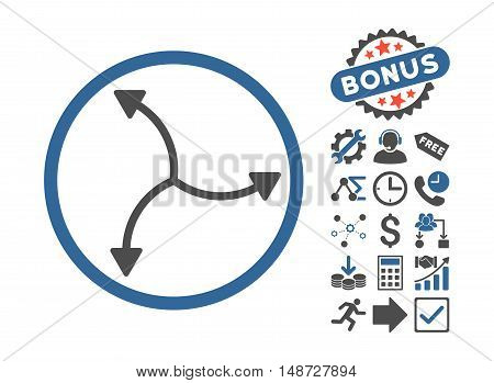 Swirl Arrows icon with bonus pictures. Vector illustration style is flat iconic bicolor symbols, cobalt and gray colors, white background.