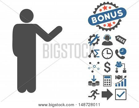 Talking Man pictograph with bonus pictograph collection. Vector illustration style is flat iconic bicolor symbols, cobalt and gray colors, white background.