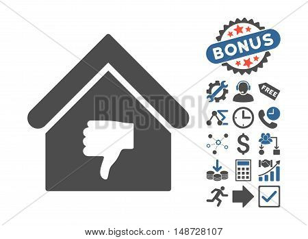Thumb Down Building icon with bonus design elements. Vector illustration style is flat iconic bicolor symbols, cobalt and gray colors, white background.