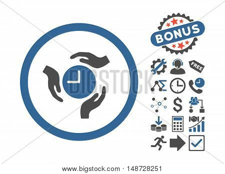 Time Care icon with bonus icon set. Vector illustration style is flat iconic bicolor symbols, cobalt and gray colors, white background.