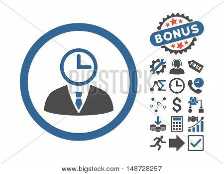 Time Manager icon with bonus icon set. Vector illustration style is flat iconic bicolor symbols, cobalt and gray colors, white background.