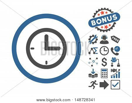 Time icon with bonus elements. Vector illustration style is flat iconic bicolor symbols, cobalt and gray colors, white background.