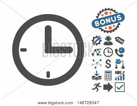 Time icon with bonus icon set. Vector illustration style is flat iconic bicolor symbols, cobalt and gray colors, white background.