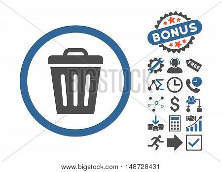 Trash Can icon with bonus symbols. Vector illustration style is flat iconic bicolor symbols, cobalt and gray colors, white background.