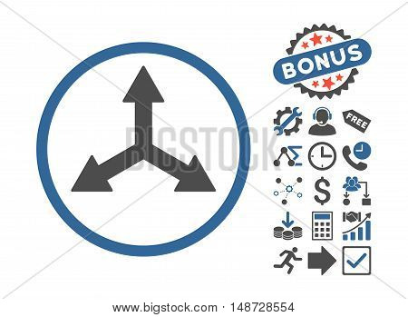 Triple Arrows pictograph with bonus pictograph collection. Vector illustration style is flat iconic bicolor symbols, cobalt and gray colors, white background.