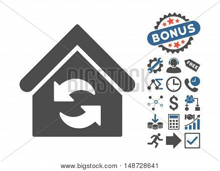 Update Building icon with bonus clip art. Vector illustration style is flat iconic bicolor symbols, cobalt and gray colors, white background.