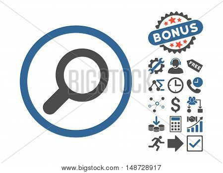 View icon with bonus pictogram. Vector illustration style is flat iconic bicolor symbols, cobalt and gray colors, white background.