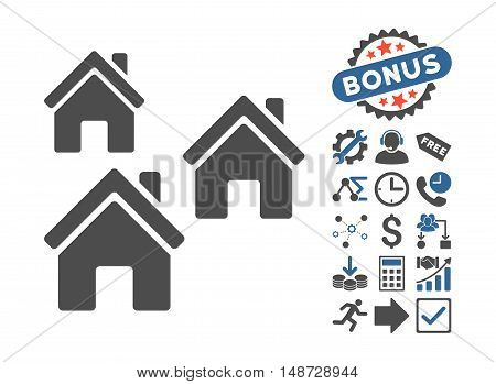 Village Buildings pictograph with bonus design elements. Vector illustration style is flat iconic bicolor symbols, cobalt and gray colors, white background.