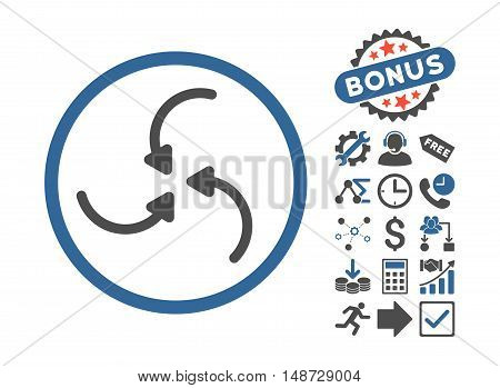Vortex Arrows icon with bonus pictures. Vector illustration style is flat iconic bicolor symbols, cobalt and gray colors, white background.