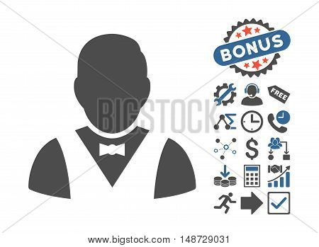 Waiter pictograph with bonus clip art. Vector illustration style is flat iconic bicolor symbols, cobalt and gray colors, white background.
