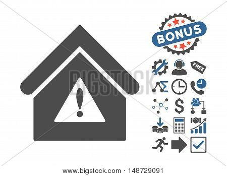 Warning Building icon with bonus elements. Vector illustration style is flat iconic bicolor symbols, cobalt and gray colors, white background.