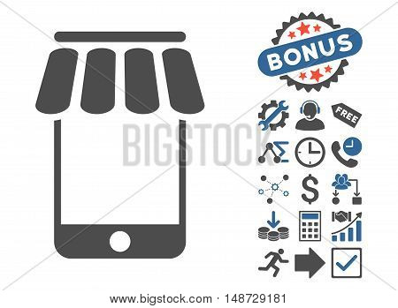 Webstore icon with bonus images. Vector illustration style is flat iconic bicolor symbols, cobalt and gray colors, white background.