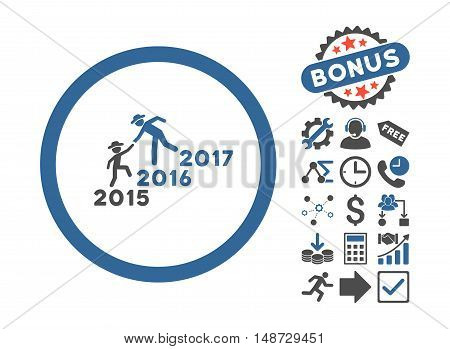 Years Guys Help icon with bonus pictures. Vector illustration style is flat iconic bicolor symbols, cobalt and gray colors, white background.