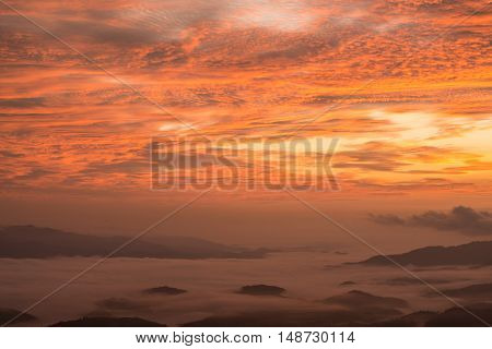 Morning sunrise during the twilight in the highland mountains of northern Thailand.