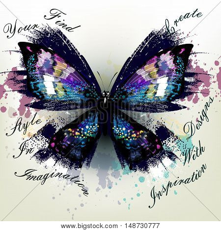 Fashion conceptual background with vector realistic butterfly find your style in imagination and create designs with inspiration