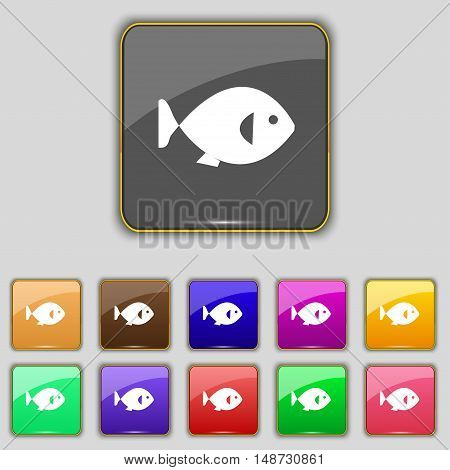 Fish Icon Sign. Set With Eleven Colored Buttons For Your Site. Vector