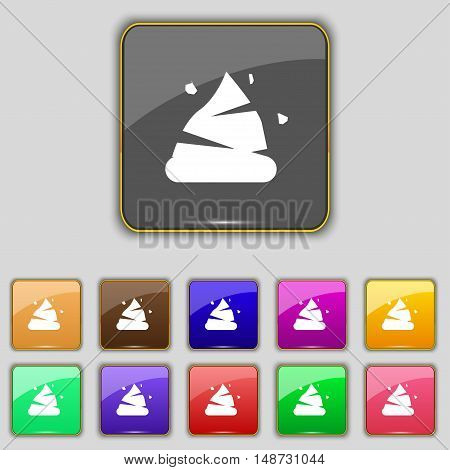 Poo Icon Sign. Set With Eleven Colored Buttons For Your Site. Vector