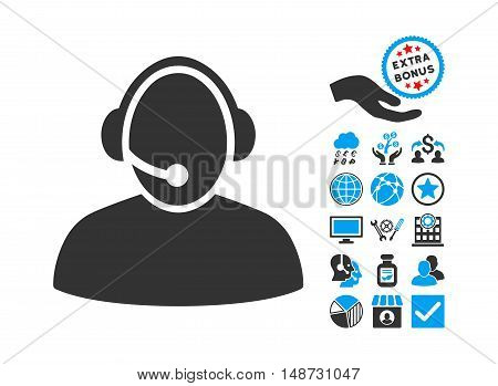 Call Center icon with bonus pictogram. Vector illustration style is flat iconic bicolor symbols, blue and gray colors, white background.