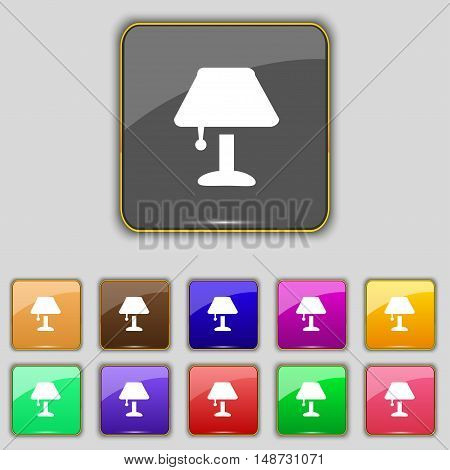 Table Lamp Icon Sign. Set With Eleven Colored Buttons For Your Site. Vector