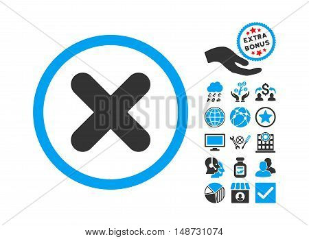 Cancel pictograph with bonus pictograph collection. Vector illustration style is flat iconic bicolor symbols, blue and gray colors, white background.