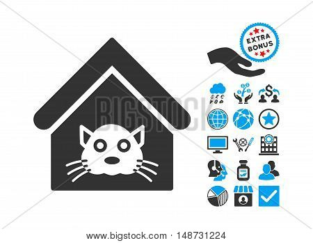 Cat House pictograph with bonus symbols. Vector illustration style is flat iconic bicolor symbols, blue and gray colors, white background.