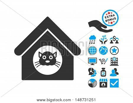Cat House pictograph with bonus design elements. Vector illustration style is flat iconic bicolor symbols, blue and gray colors, white background.