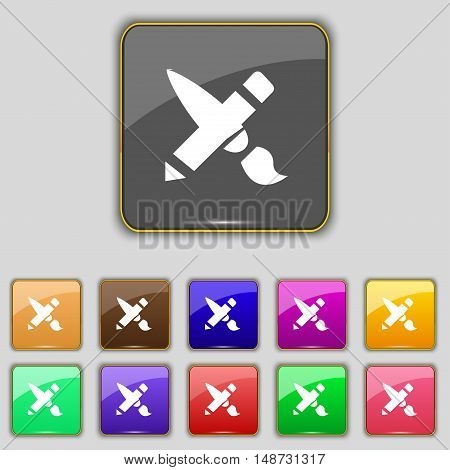 Brush Icon Sign. Set With Eleven Colored Buttons For Your Site. Vector