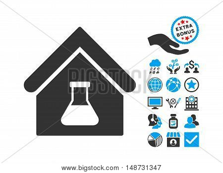 Chemical Labs Building pictograph with bonus clip art. Vector illustration style is flat iconic bicolor symbols, blue and gray colors, white background.
