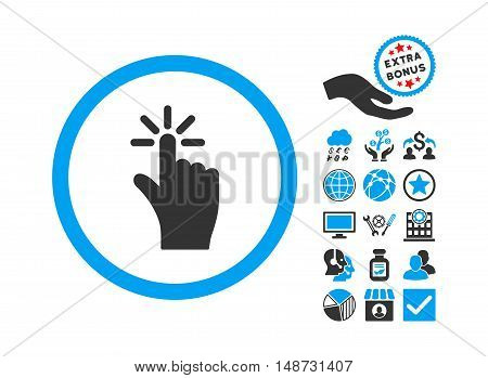 Click pictograph with bonus pictogram. Vector illustration style is flat iconic bicolor symbols, blue and gray colors, white background.