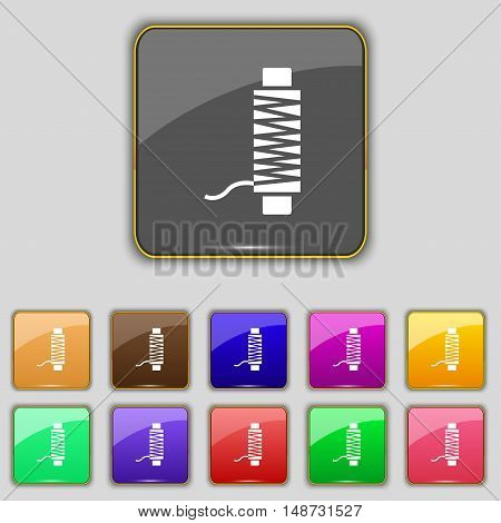 Thread Icon Sign. Set With Eleven Colored Buttons For Your Site. Vector