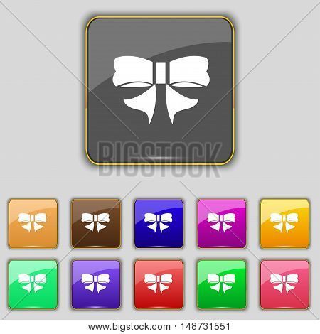 Ribbon Bow Icon Sign. Set With Eleven Colored Buttons For Your Site. Vector